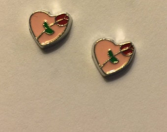 Rose Heart Stud Earrings - HV1