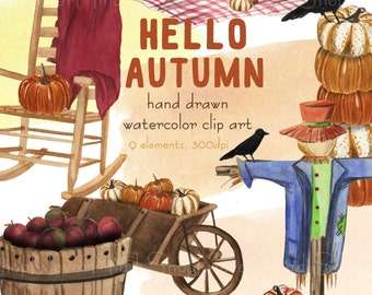 Fall clip art set watercolor autumn clipart kit with orange brown and blue picnic basket apples scarecrow pumpkin crow and chair kit