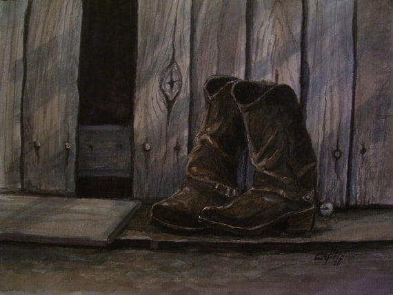 Old Worn Out Boots,16x20 Original Watercolor Painting,One of a Kind,Not a Print,Free Shipping Code SKYE2