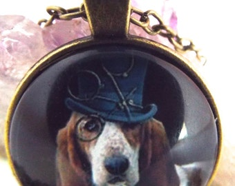 SteamPunk Basset Hound Dog Breed in Hat Art Photo Cabochon Necklace Floppy Basset Ears Dog Lover's Jewelry Pendant & Bronze Chain