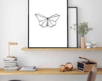 Butterfly Print, Geometric Digital Print, Minimal Animal Art, Modern Wall Poster, Abstract Art, Modern Black And White Print