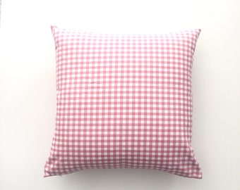Pink gingham pillow cover