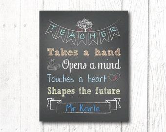 Teacher Gift PRINT,Thank you,Chalkboard Tree in Blue Design,Appreciation,Male teacher,Personalized,Digital,Print yourself 8x10 Photo Print