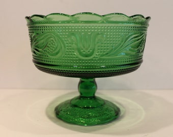 Vintage Forest Green Compote - Sandwich Pattern - E.O. Brody M6000 - Green Comport