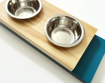 Modern feeder small- Cat or small dog bowls, Minimal design, Wood and blue, animalove