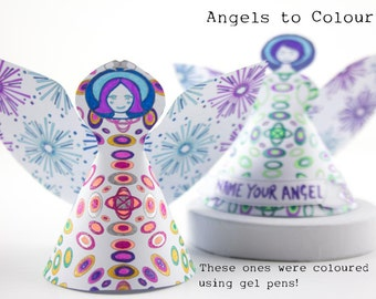 Diy Angels, Instant download of pdf file 2 paper angel figurine designs to colour and make for shower favors, reception décor stocking ideas