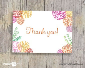 Floral Thank you card * instant download * printable, flowers, spring, hand drawn, Clean, modern, white background DIY
