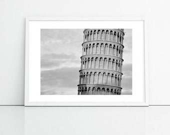Pisa Photo, Leaning Tower Of Pisa, Italy, Urban Modern Photography, Printable Art, Office Decor