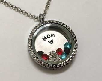 MOM- Unique Mother's Day Gift - Floating Charm Memory Locket - Custom Hand Stamped Gift for Mom