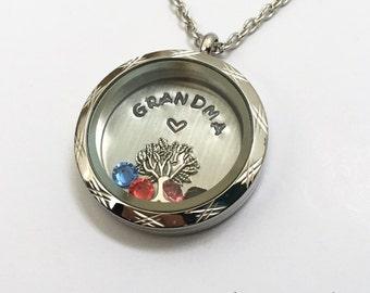 GRANDMA - Etched Edge or Custom Floating Charm Locket - Memory Locket - Custom Hand Stamped Gift for Mom