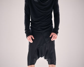 Black Mens Clothing / Kinetic Black Blouse/ Mens Urban Blouse / Long Sleeved Bonded Shirt/ Black Asymmetrical Top by POWHA