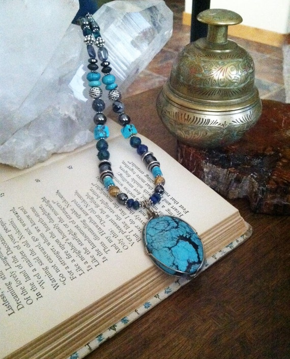 SHAMAN'S POWER, Apache Turquoise pendant, Sedona and Reiki Charged Jewelry, Southwest style, Wisdom and Ancient Knowledge necklace, Power