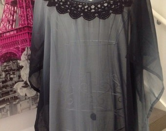 An elegant black , grey caftan kaftan top/ dress,  with black crochet trim one size resort casual