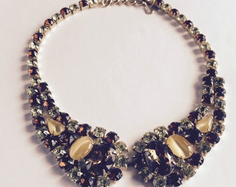 Vintage  amber green brown rhinestone necklace Juliana style