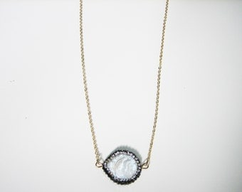 Freshwater Coin Pearl and Crystal Pendant Necklace