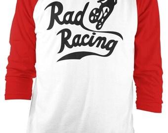 RAD RACING Raglan Baseball Shirt - 1989 cru jones bmx cult movie - Red