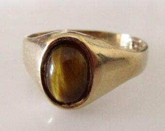 9ct Gold Tigers Eye Signet Ring