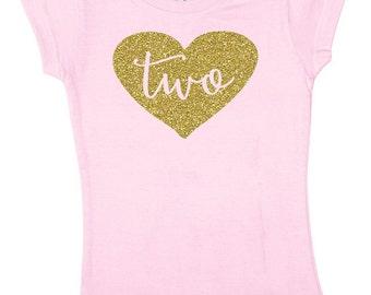 Two Glitter Shirt - 2 Birthday Shirt - Girls Birthday Shirt 2 - Girls Two Shirt - Birthday Outfit - 2nd Birthday Shirt - Pink and Gold