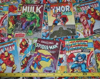 New!  Marvel - Comic Covers - Spiderman - Hulk - Captain America - Iron Man 100% Cotton Quilt Fabric by Springs Creative