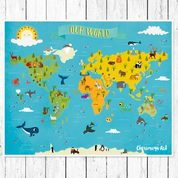 World Map Baby Rug: Kids World Map Personalized Baby Map Nursery World Map