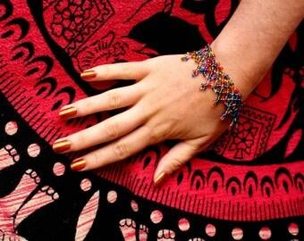 Multicoloured Hand Beaded Bracelet