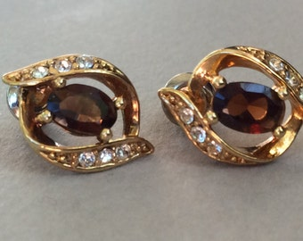 14K Gold Wash Round CZs and Dark Honey Topaz Pierced Earring Stud