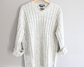 White & Grey ROOTS Sweater Slouchy Oversize Unisex Minimalist Open Size