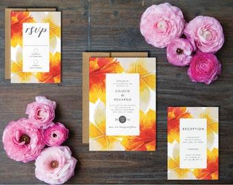 Hibiscus Wedding Invitation Suite - Printable Wedding Invitation Suite, DIY Wedding Invitation, Summer Wedding, Spring Wedding, Peonies