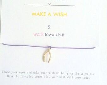 Wish Bracelet, Make a Wish, Make a Wish Bracelet, Wish, Wishbone Bracelet, Gold Wishbone Bracelet, Message Card, Birthday Gift, gift