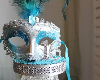 Masquerade, Mask, Rhinestone Sweet 16 Cake Topper Turquoise and Silver, overthetopcaketopper