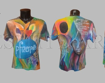 HAND PAINTED T SHIRT for womens clothing for mens shirts boho clothing mens tshirts funny tshirts for mens clothes gifts for mens gifts