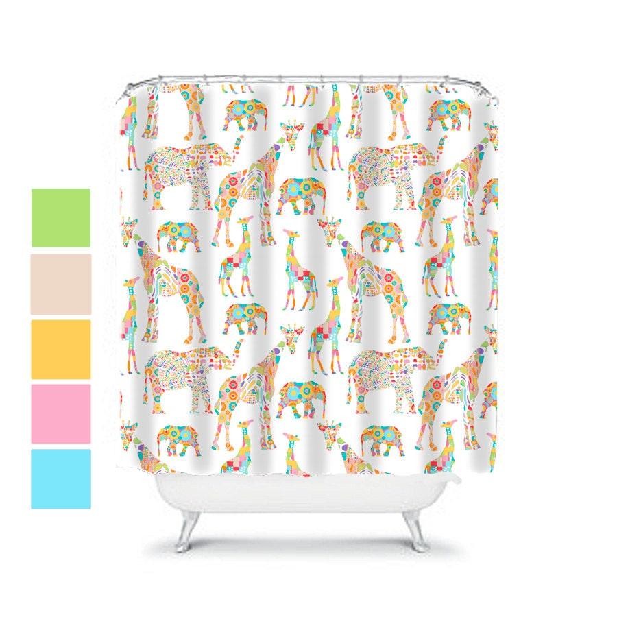 Elephant shower curtain kids bathroom decor kids shower for Elephant bathroom accessories