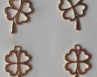 4 X Four Leaf Lucky Clovers Alloy St Patrick's Day/Irish Beads/Charms/Pendants Gold Colour Plated - 28mm