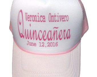 Quinceanera Soft Pink  and White  Hat With Hot Pink Print