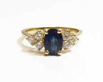 Vintage 14k Yellow Gold Blue Sapphire Ladies Engagement Ring Size 5.5 ~ Fine Engagement Jewelry