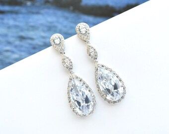 Wedding Cubic Zirconia Teardrop Earrings Bridal Crystal CZ Earrings Long Dangle Bridal Jewelry