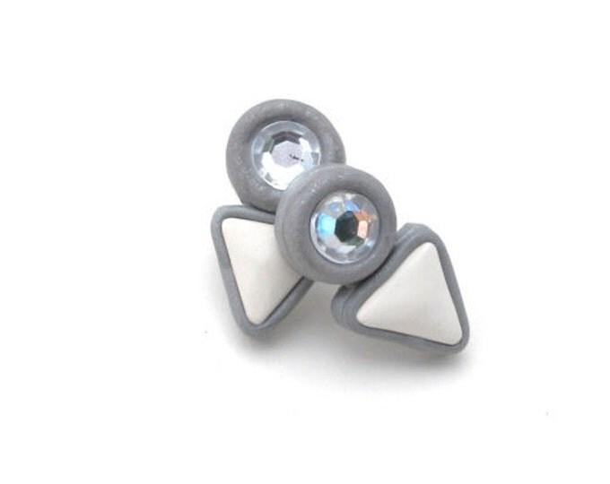 SALE (HALF PRICE) Paradox studs// Statement earrings white polymer clay and rhinestones// Little Tusk handmade arrow head studs// #SE1015A