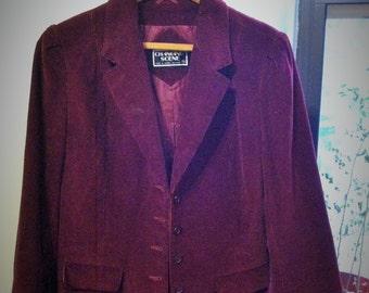 80's Burgundy Corduroy Women's Blazer Made in Japan