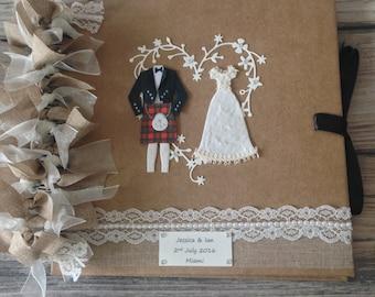 Personalised Wedding scrapbook /album /guestbook / Scottish kilt RED