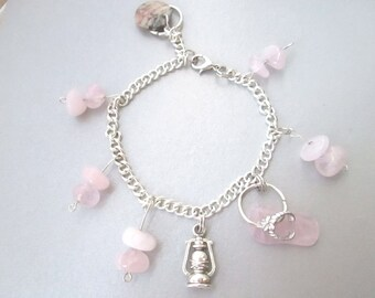Fertility bracelet with rose quartz, fertility stones, charm bracelet with gemstones, healing crystals, healing stones, healing bracelet