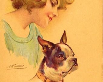 Vintage French Bulldog and Pretty Woman Postcard, PC, 1930's Les Chiens de Dames by Artist Suzanne Meunier Paris France Bouledogue Francais