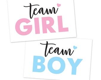 Gender Reveal Printable 'Team Boy, Team Girl' Signs / Gender Reveal Party Printables / Team Boy and Team Girl Gender Reveal Decorations