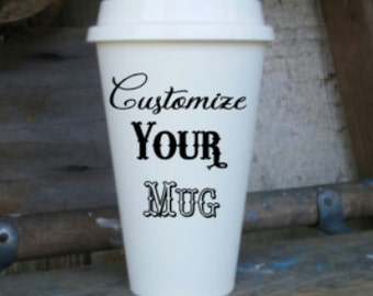 custom coffee mug personalize your tumbler double sided to go traveler create your