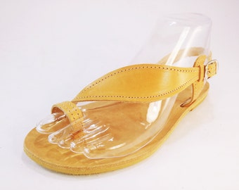 Genuine Leather Sandals, Leaf Design - Summer Flat Greek Leather Sandals . Handmade in Greece.