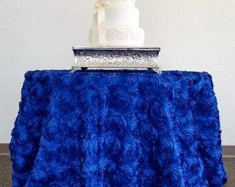 Royal Blue Rosette Tablecloth, Rosette Tablecloth, Rose Tablecloth, Rosette Table  Linens, Romantic