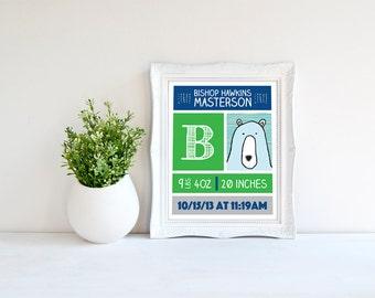 Custom baby birth printable - Personalized name date weight print - custom nursery print - birth announcement wall print - custom birth