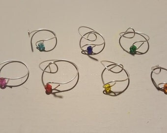 Adjustable Silver Wire Ring-Pink, Dark Blue, Light Blue, Green, Yellow, Orange or Red Glass Bead
