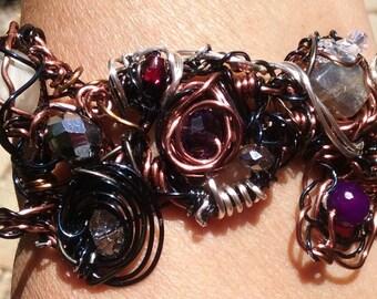 "Bracelet, Wire Jewelry, Handmade- Labradorite, Crystal, Glass, Blue Steel, Copper, Silver, Design (L- 9.5"")"