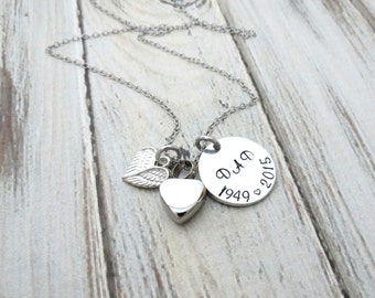 Personalized memorial necklace cremation urn heart mom for Father daughter cremation jewelry
