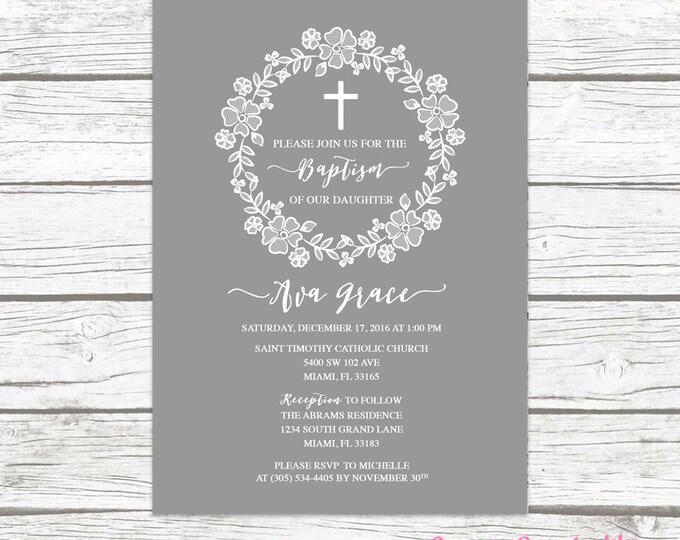 Gray White Lace Wreath Floral Baptism Christening Invitation, Girl First Communion Boho Vintage Cross Invite, Rustic Printable Invitation